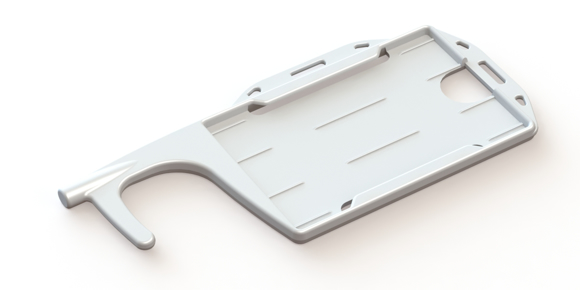 Non Touch Card Holder in white showing card holder