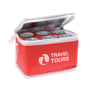 Promocool Cooler bag in red with white details showing inside and with 1 colour print