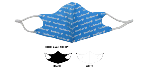 Fabric Polyester Face Mask in black and white
