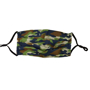 Pleated Face Mask in camo print with black elastic straps