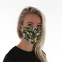 Pleated Face Mask in camo print being worn