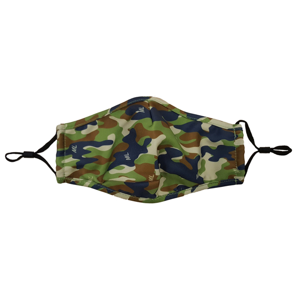 Pre-Shaped Face Mask in camo print with black elastic straps