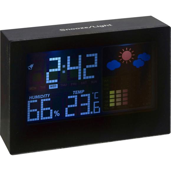 Digital Weather Station in black showing information