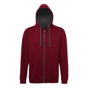 Men's Varsity Hoodie in burgundy with charcoal details and lining