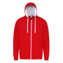 Men's Varsity Hoodie in red with white details and lining