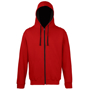 Men's Varsity Hoodie in red with black details and lining