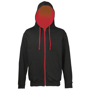 Men's Varsity Hoodie in black with red details and lining