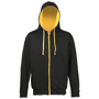 Men's Varsity Hoodie in black with gold details and lining