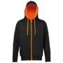 Men's Varsity Hoodie in black with orange details and lining