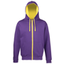 Men's Varsity Hoodie in purple with yellow details and lining