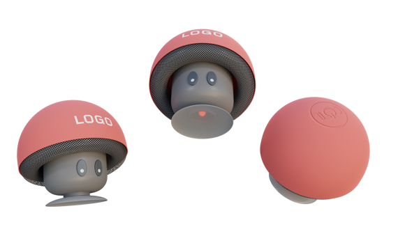Mushroom Bluetooth Speaker Stand in red and grey showing different angles