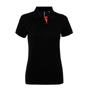 Women's Contrast Polo in black with orange trim