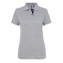 Women's Contrast Polo in grey with navy trim