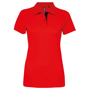 Women's Contrast Polo in red with navy trim