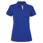 Women's Contrast Polo in blue with white trim