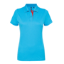 Women's Contrast Polo in light blue with red trim