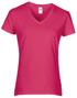 Women's Cotton V Neck T-Shirt in dark pink