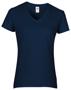 Women's Cotton V Neck T-Shirt in navy