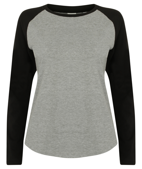 Women's Long Sleeve Baseball T-Shirt in grey with black sleeves and neck