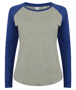 Women's Long Sleeve Baseball T-Shirt in grey with blue sleeves and neck