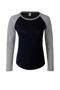 Women's Long Sleeve Baseball T-Shirt in navy with grey sleeves and neck