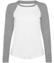 Women's Long Sleeve Baseball T-Shirt in white with grey sleeves and neck