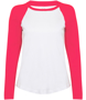 Women's Long Sleeve Baseball T-Shirt in white with pink sleeves and neck