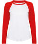 Women's Long Sleeve Baseball T-Shirt in white with red sleeves and neck