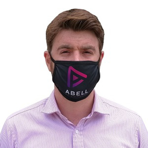 a man wearing  a black face mask with a pink logo to the front
