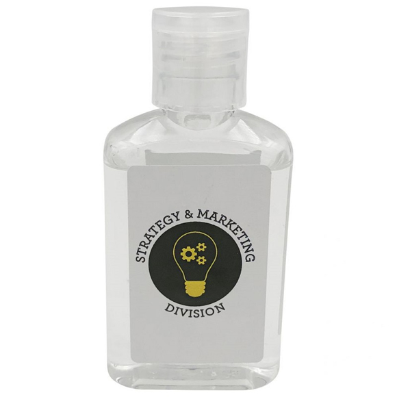 a small transparent bottle of hand sanitiser gel with a 2 colour branded label to the front
