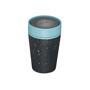 rCUP 8oz in black with blue lid