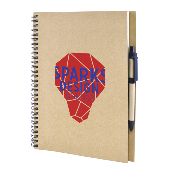 Lacrimoso Notepad A4 in natural with 2 colour print and pen