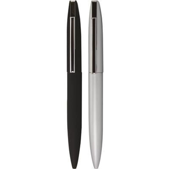blade ball pen in black and silver with black clip
