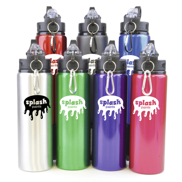 a group of different colour metal bottles with plastic lids