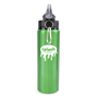 green metal bottle with black plastic lid and silver carabiner