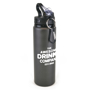 black metal bottle with black plastic lid and silver carabiner