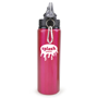 pink metal bottle with black plastic lid and silver carabiner