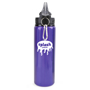 purple metal bottle with black plastic lid and silver carabiner