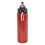 red metal bottle with black plastic lid and silver carabiner