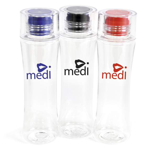 three tritan plastic bottles in red, blue and black