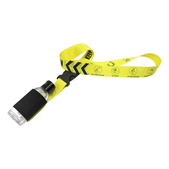 lanyard with a space to hold a small hand sanitiser
