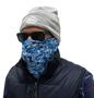 man wearing blue snood