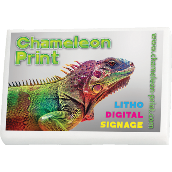 Eraser with a full colour print to front