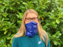 girl wearing full colour printed snood with blue amt design