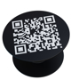 a black pop socket with a qr code to the front