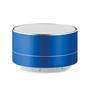 a blue metallic bluetooth speaker