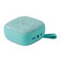 turquoise square fabric bluetooth speaker