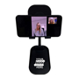 black adjustable phone stand front on with phone to the front