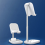 two white adjustable phone stands at different heights and angles