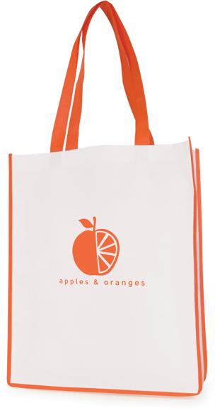 Printed shopper bag with coloured trims Orange